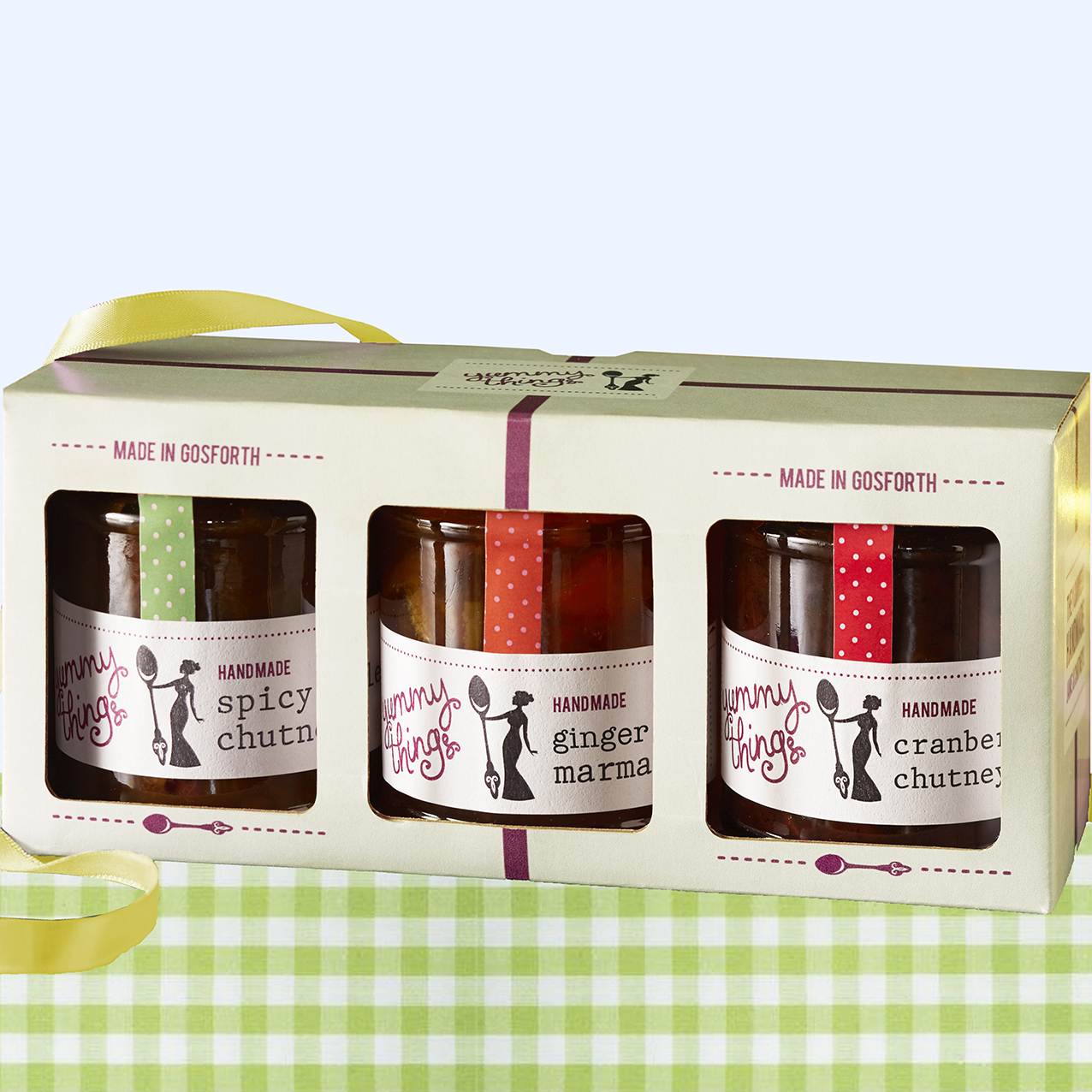 Yummy Things' delicious, handmade ginger orange marmalade, cranberry chutney and spicy onion chutney gift set- Made in Gosforth, Newcastle upon Tyne